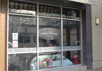 Photo of the front of the Spellbound shop